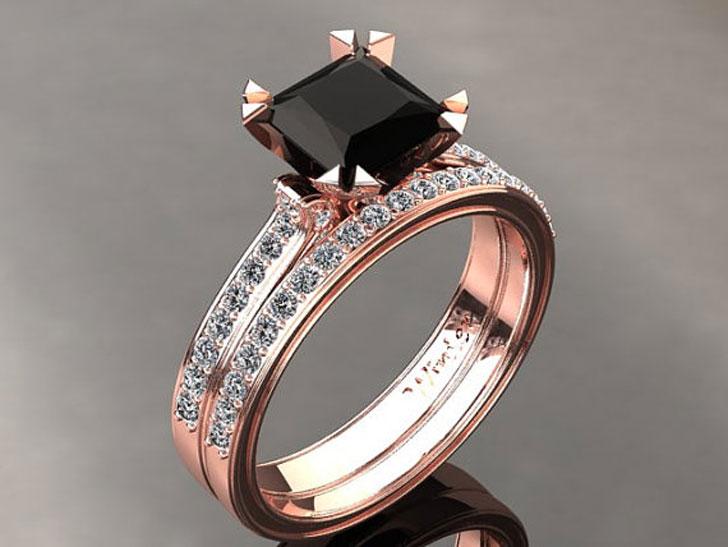 1.30 Carat Princess Cut Black Diamond Engagement Ring
