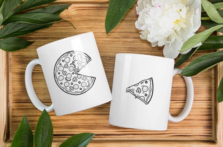Couples Pizza Mugs