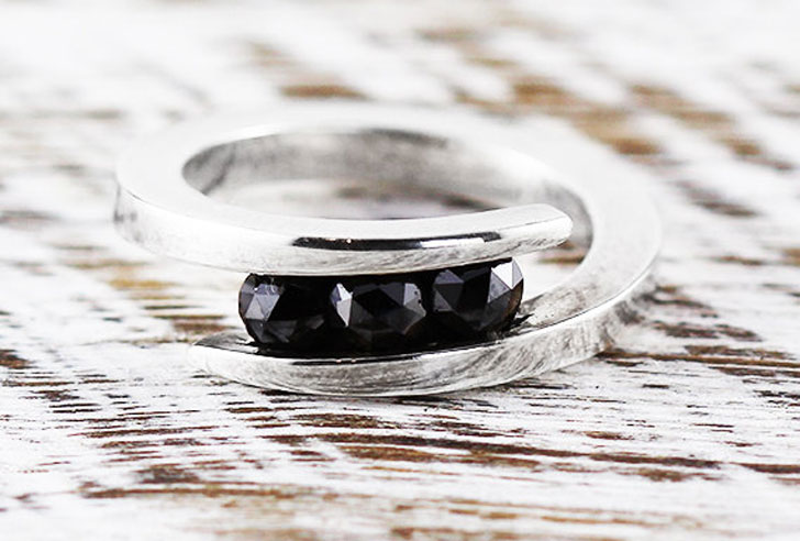 14k White Gold Black Diamond Wedding Band