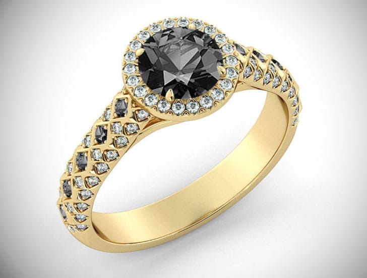 2 Carat Gold Black Diamond Cathedral Pave Halo Ring