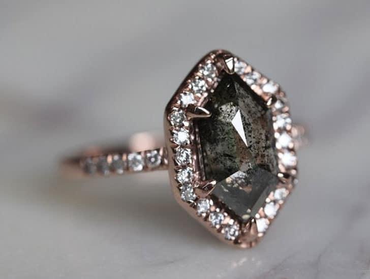 2.07 Carat Black Rose Cut Hexagon Diamond Engagement Ring