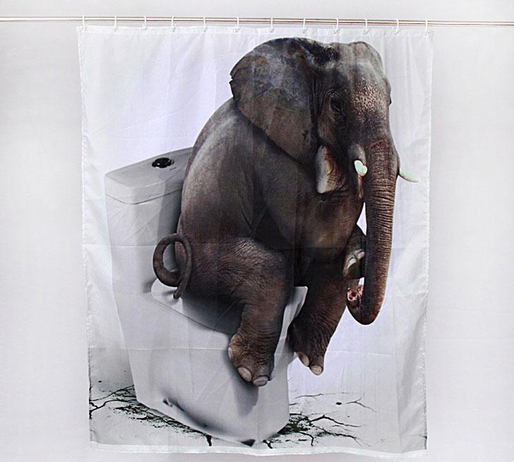 3D Elephant on Toilet Shower Curtain