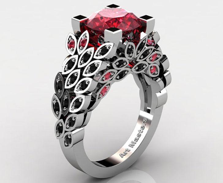 Art Masters Nature Inspired Rubies & Black Diamond Engagement Ring