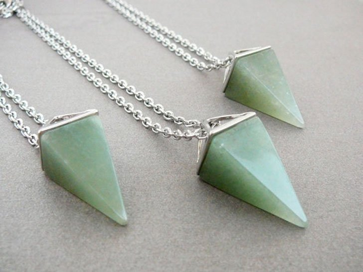Aventurine Pyramid Necklaces - good luck necklaces