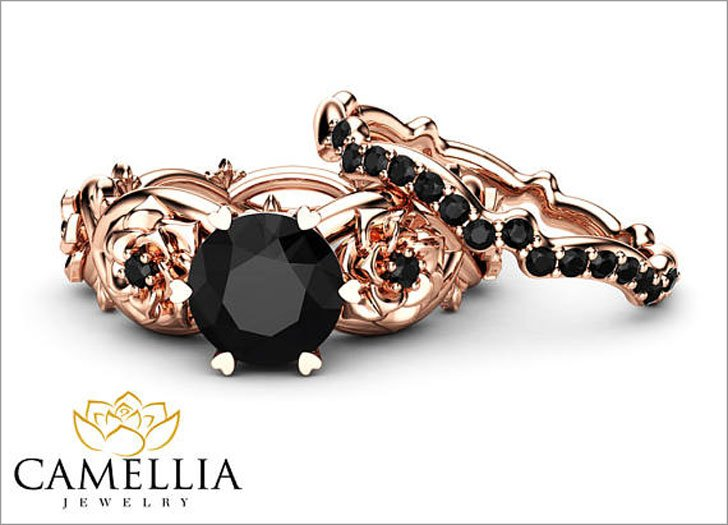 Black Diamond Engagement Ring Set 14K Rose Gold Floral Set With Matching Band