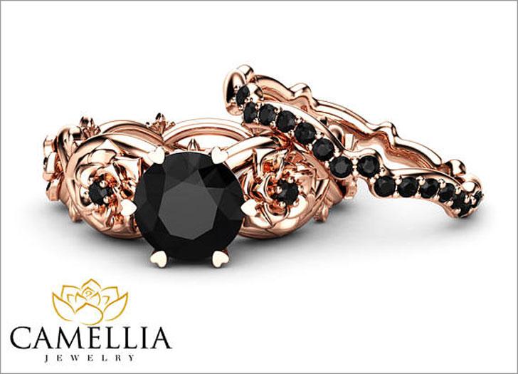 Black Diamond Engagement Ring Set 14K Rose Gold Floral Set With Matching Band