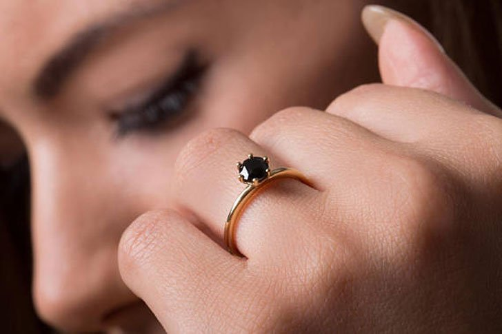 Black Diamond Solitaire Promise Ring