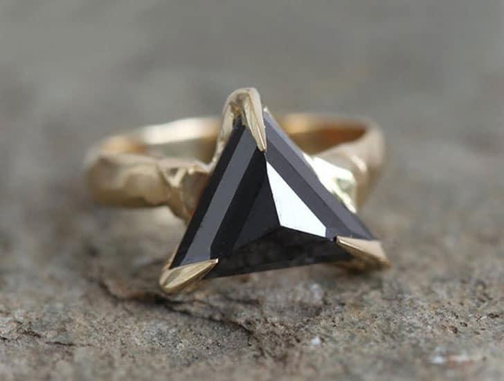 Black Diamond Triangle Trillion Modern Gold Ring