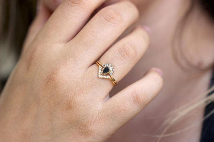 Black Pear Cut Diamond Ring