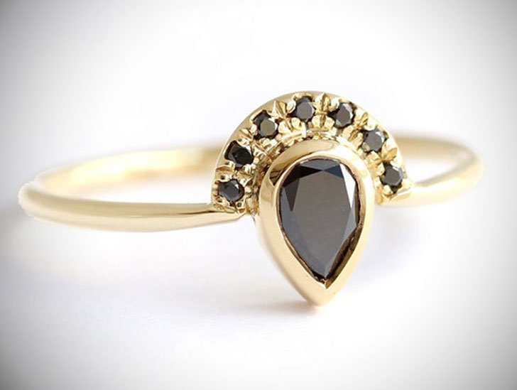 Black Pear Cut Diamond Ring