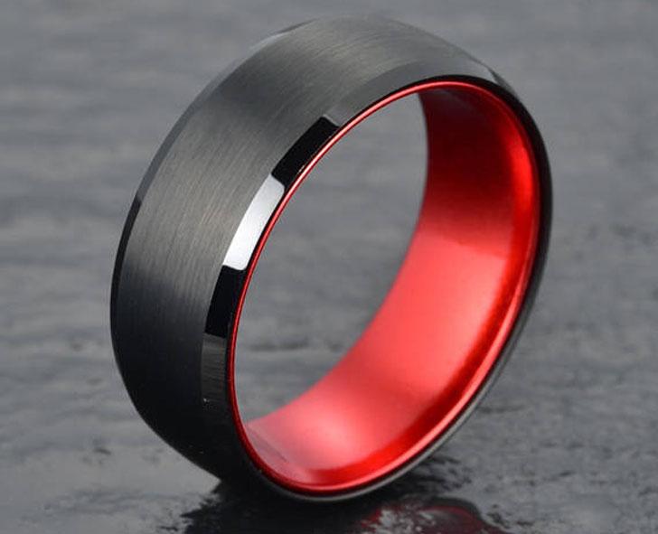 Black Tungsten with Red Anodised Aluminium Mens Ring - Unique Mens Rings