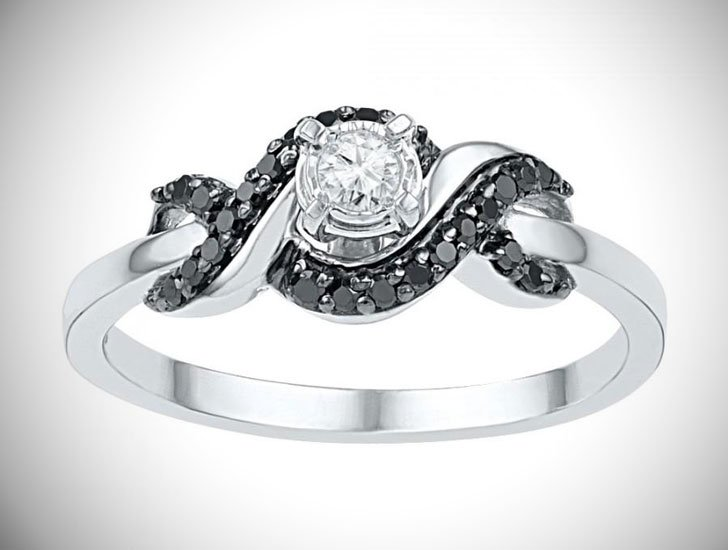 Black & White Diamond Promise Ring Sterling Silver