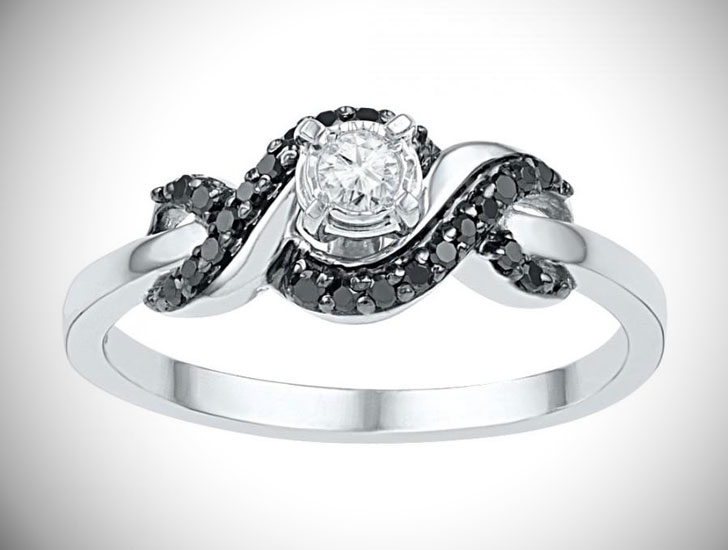 Black & White Diamond Promise Ring Sterling Silver
