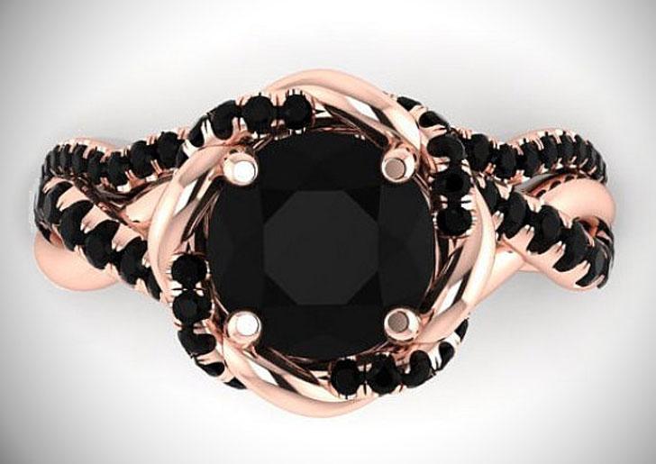Bohemian Style Black Diamond Proposal Rings