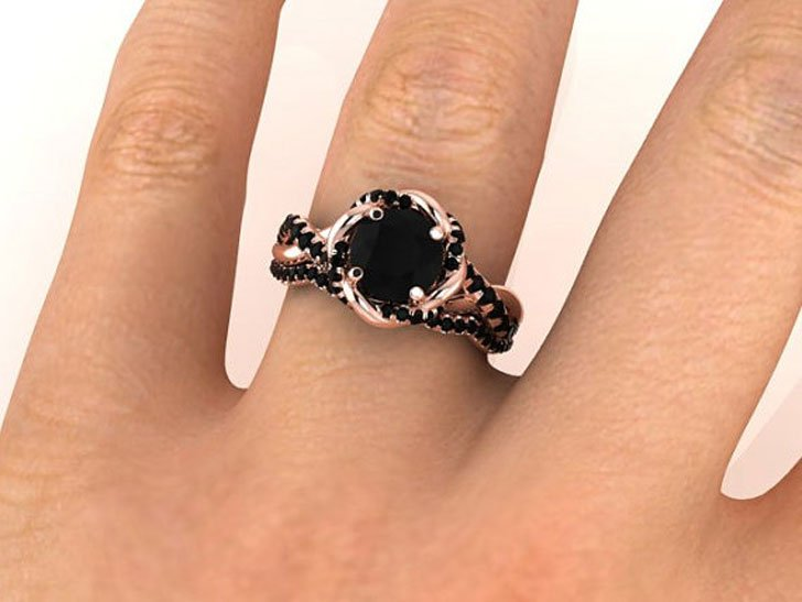 Bohemian Style Black Diamond Proposal Rings
