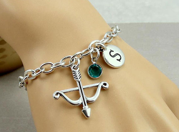 Bow, Arrow, initial and Birthstone Charm Bracelets