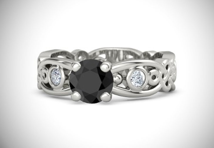 Brilliant Alhambra Solitaire Black Diamond Engagement Ring