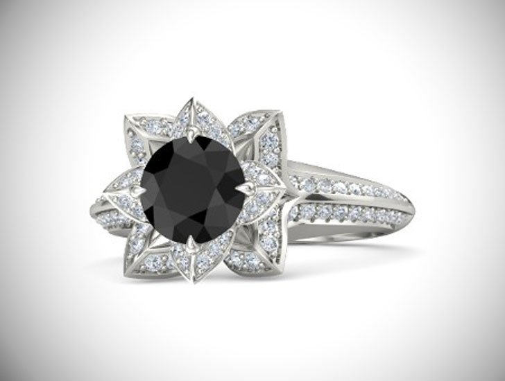 Brilliant Lotus Black Diamond Engagement Ring