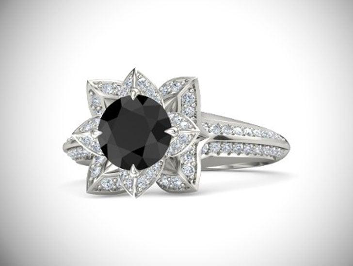 Brilliant Lotus Black Diamond Engagement Ring