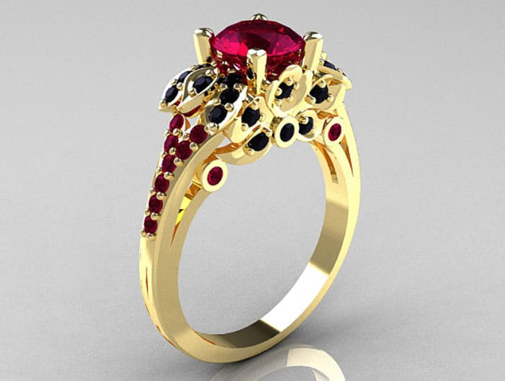 Classic 14K Yellow Gold 1.0 CT Red Garnet Black Diamond Blazer Wedding Ring