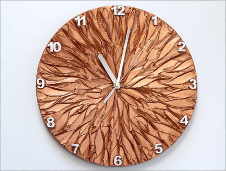 Copper Art Wall Clock - unique wall clocks
