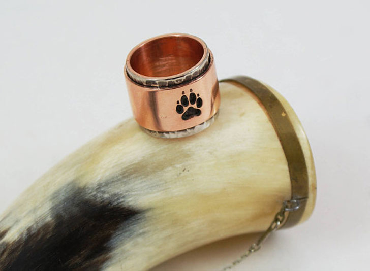 Copper Wolf Paw Ring