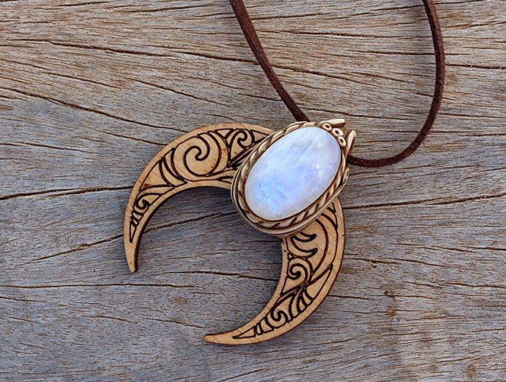 Crescent Moon And Rainbow Moonstone Good Luck Amulet