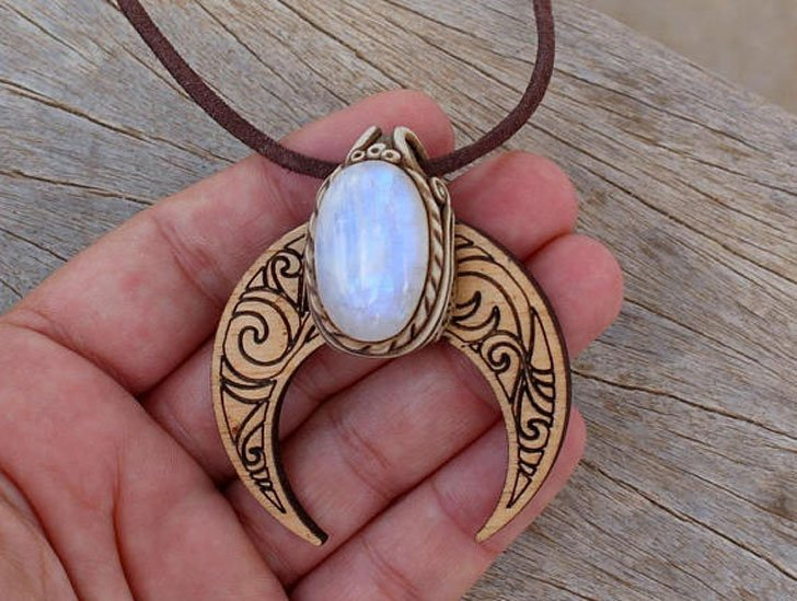 Crescent Moon And Rainbow Moonstone Good Luck Amulet - good luck necklaces