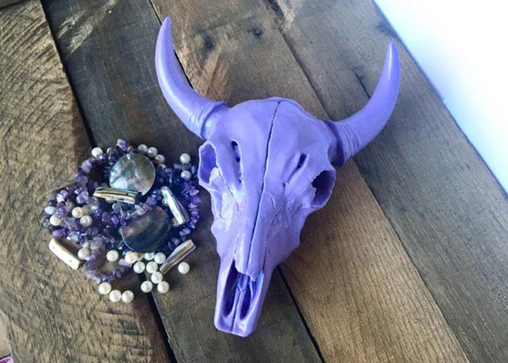 Custom Color Faux Taxidermy Cow Skulls