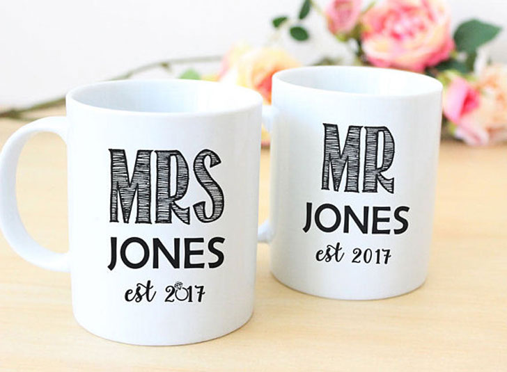 Custom Made Mr and Mrs Couples Mugs