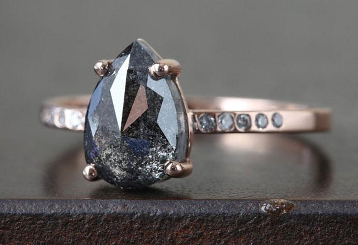 Custom Natural Rose Cut Black Diamond Engagement Ring