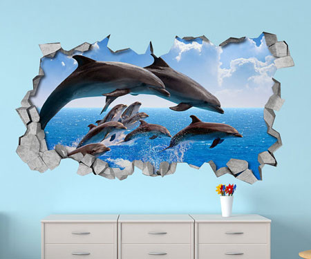 Dolphin Wall Art 3D Decals