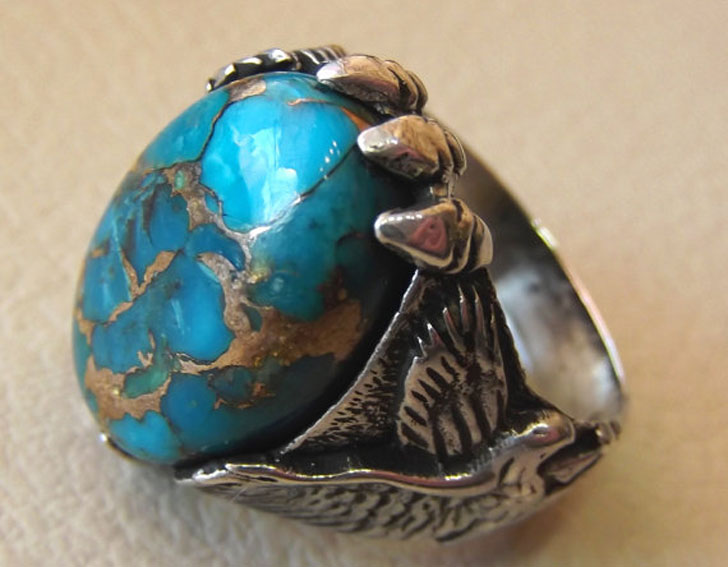 Eagle Ring with Natural Copper Turquoise Stone