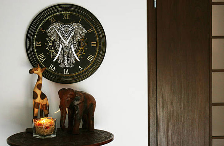Elephant Mandala Wall Clock