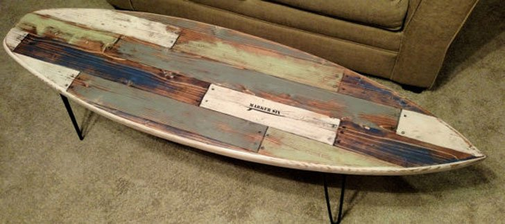 Faux Pallet Rustic Weathered Surfboard Coffee Table