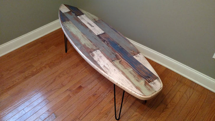 Faux Pallet Rustic Weathered Surfboard Coffee Table - Surfboard Coffee Tables