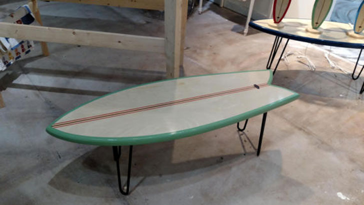 Fish Tail Table End Surfboard Coffee Table