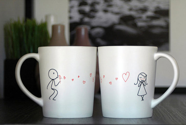 From My Heart to Yours His and Hers Valentine Coffee Mugs