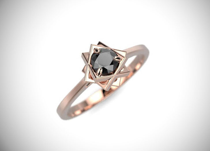 Genuine Rose Gold Black Diamond Engagement Ring