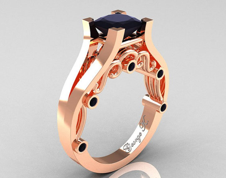 George K Classic 14K Rose Gold Black Diamond Engagement Ring