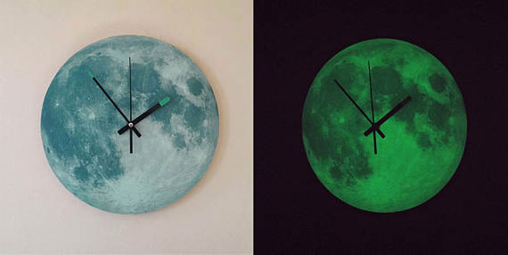 Glowing Moon Wall Clocks