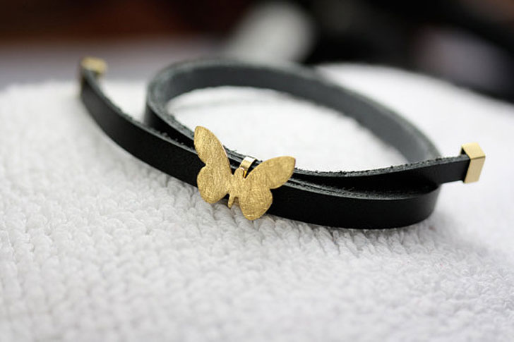 Gold Plated Leather Butterfly Friendship Bracelets