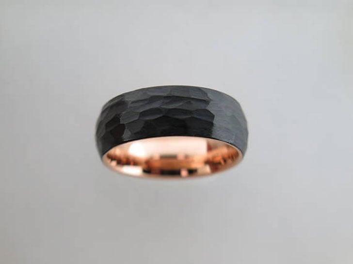 Hammered Brushed Black Tungsten Carbide Ring
