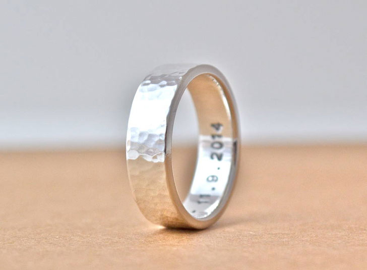 Hammered Silver Hidden Message Ring - Unique Mens Rings