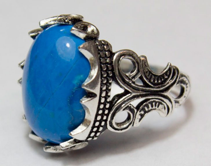 Handmade Sterling Silver with Turquoise Gemstone Ring - Unique Mens Rings