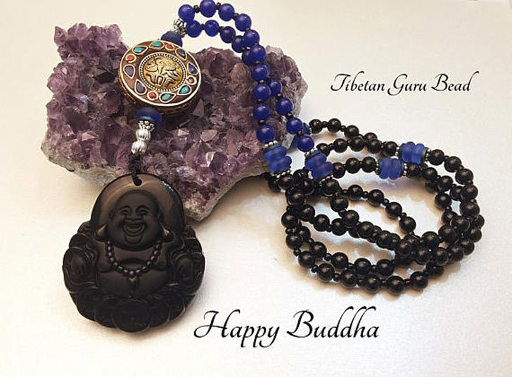 Happy Buddha Obsidian Good Luck Pendant
