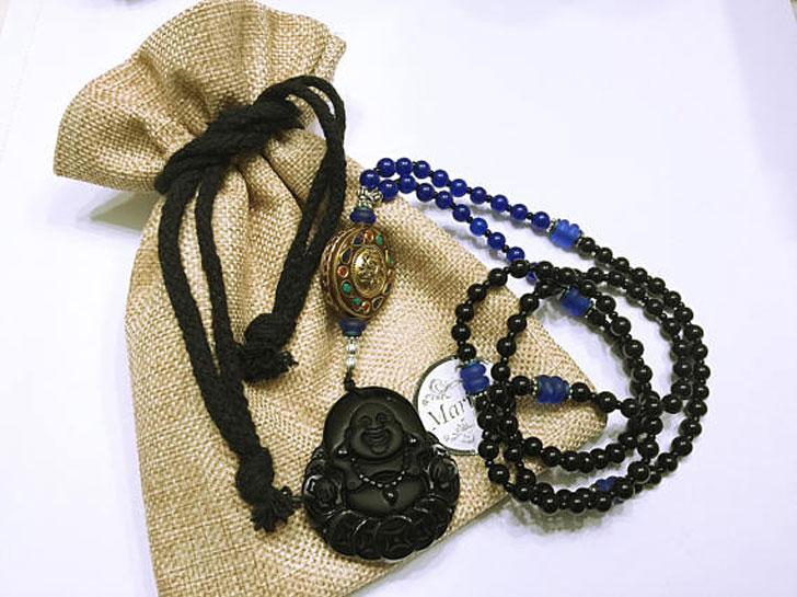 Happy Buddha Obsidian Good Luck Pendant