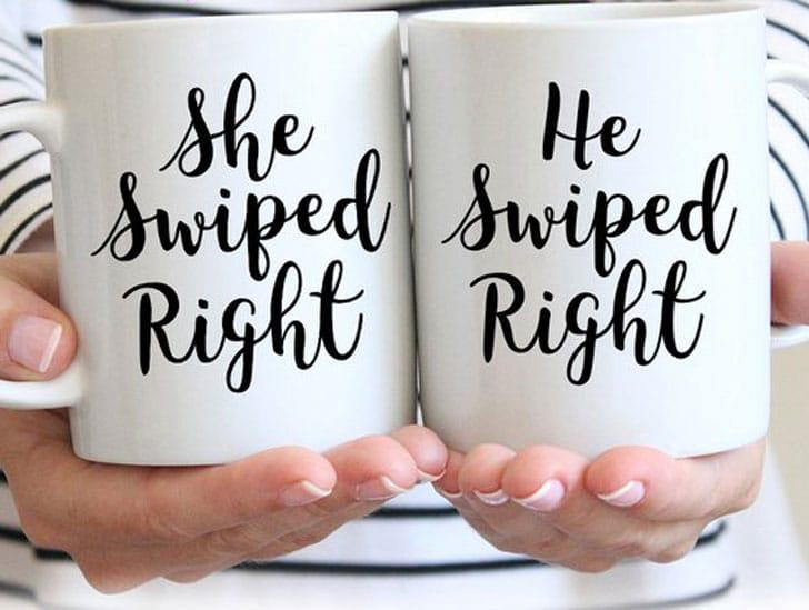 He She Swiped Right Couples Mugs