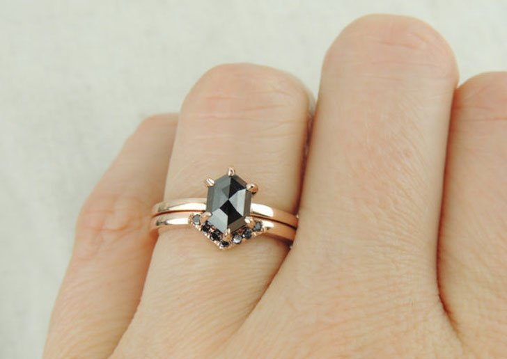 Simple delicate ring for women. Unique minimalist engagement ring Black diamond ring 14k gold black ring Black diamond wedding ring band