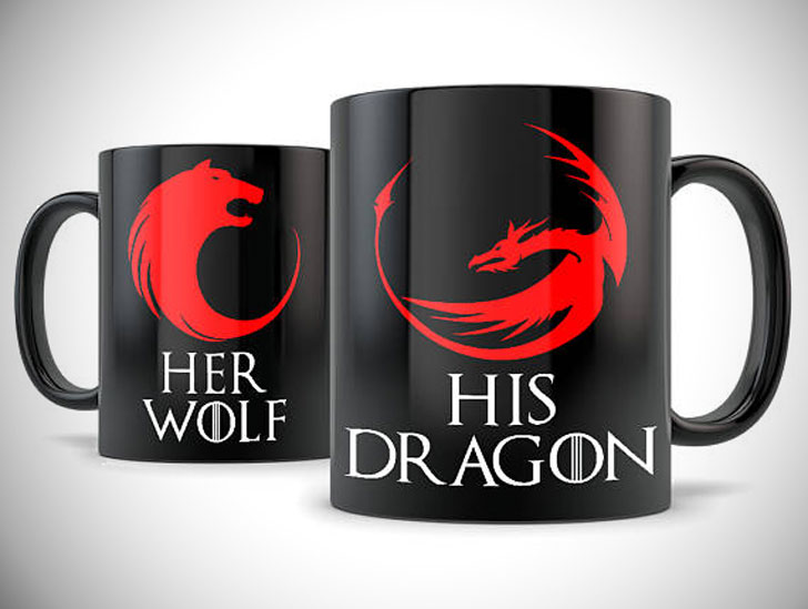 His Dragon Her Wolf Game of Thrones Inspired Couple Mugs
